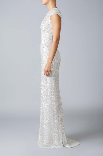 Estrella Cap Sleeve Bridal Dress - Ice White