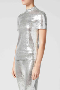 Galaxy Short-Sleeved Sequin Top - Silver