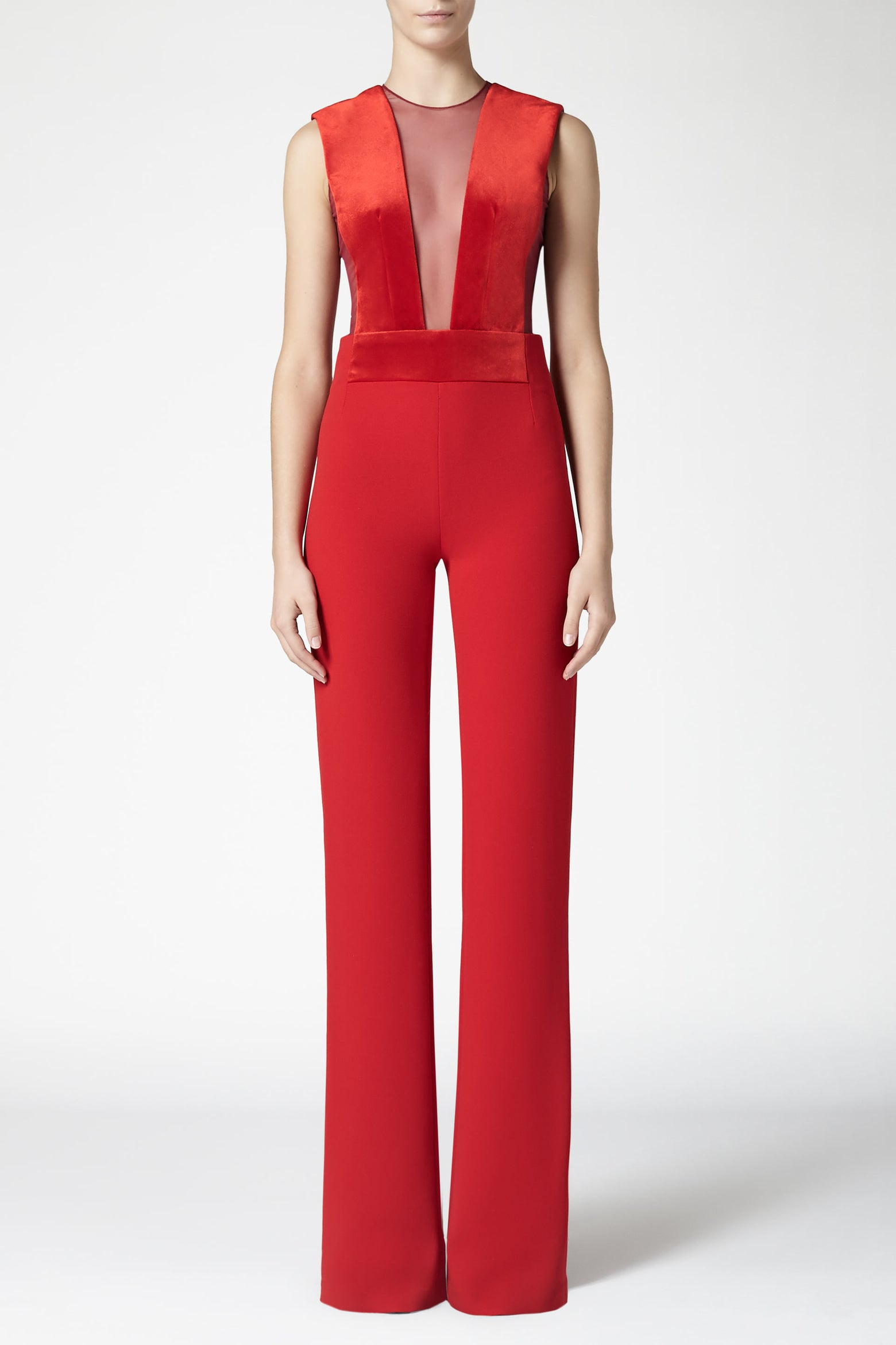 Gwyneth Jumpsuit - Fiery Red