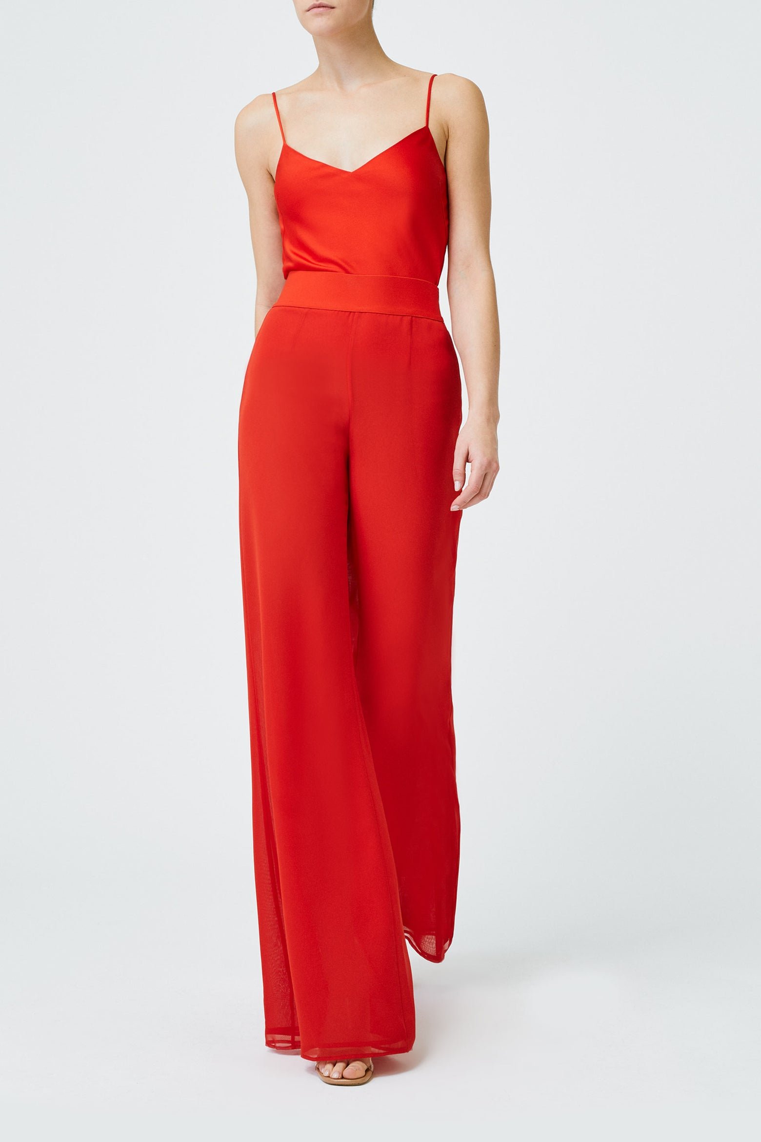 Georgette Trousers - Blood Moon Red