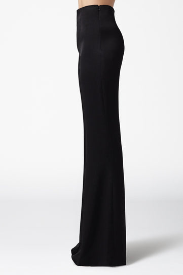 High Waisted Satin Trousers - Black