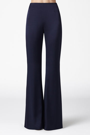 High Waisted Satin Trousers - Midnight