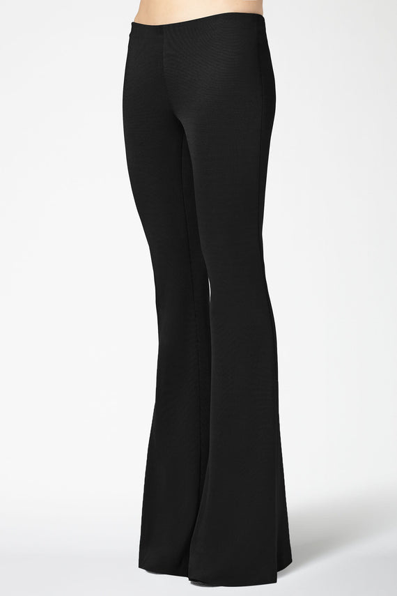 Jersey Flared Trousers - Black