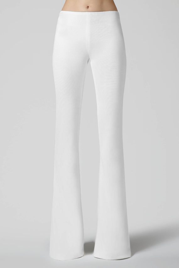 Jersey Flared Trousers - White
