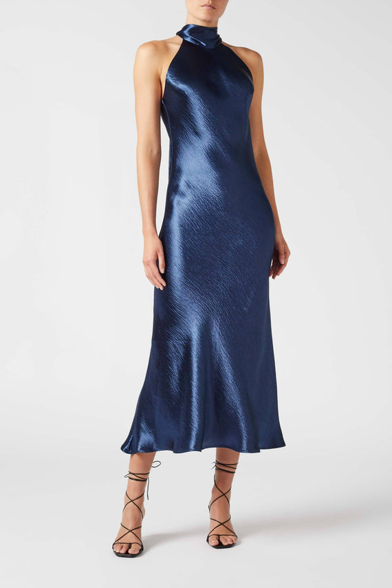 Metallic Cropped Sienna Dress - Midnight