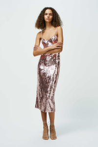 Mirrored Berlin Bustier Dress - Rose Gold