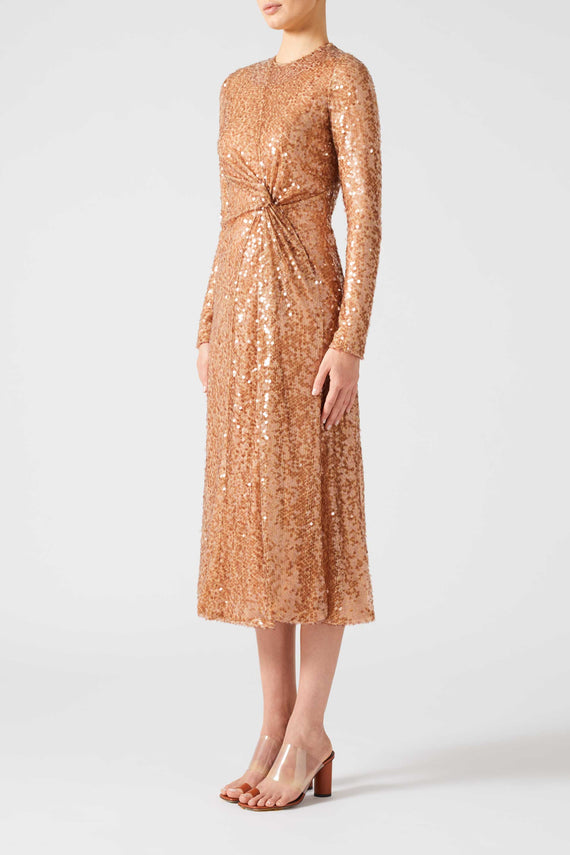 Paillette Pinwheel Dress - Copper