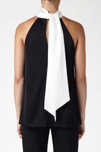 Sash Neck Tunic - Black & White