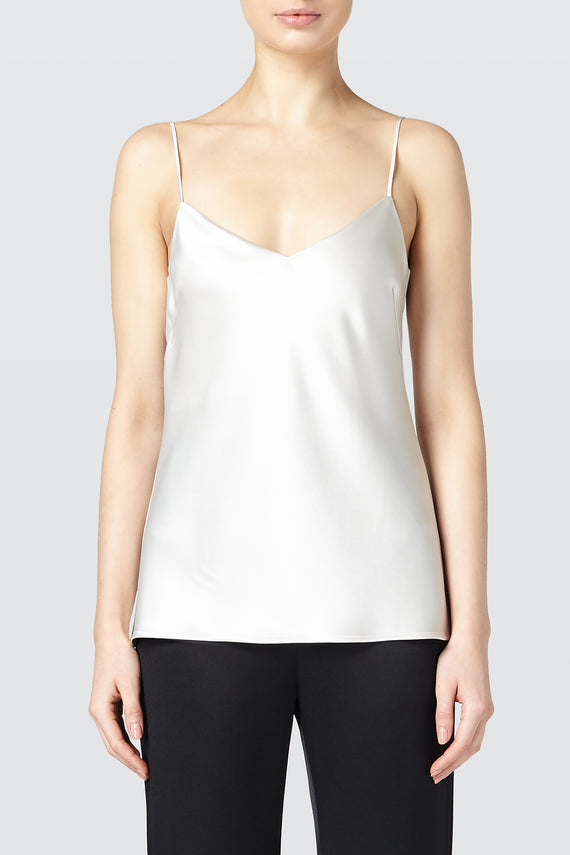 Satin V-Neck Camisole - Platinum