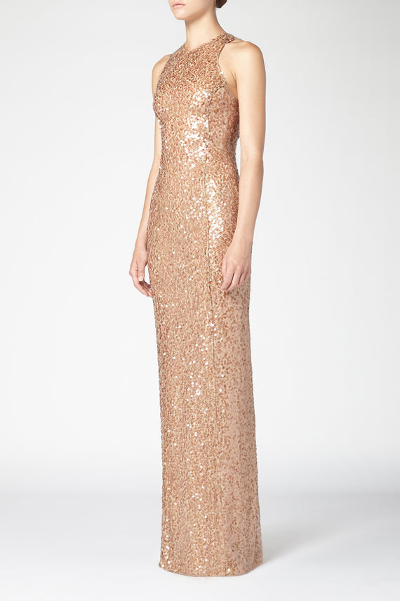 Sequin Column Dress - Copper