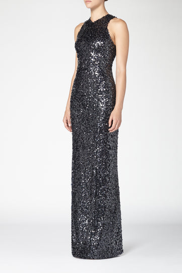 Sequin Column Dress - Ink Blue