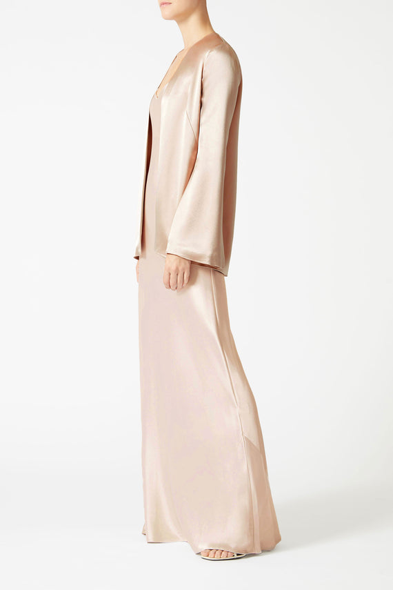 Satin Evening Jacket - Nude