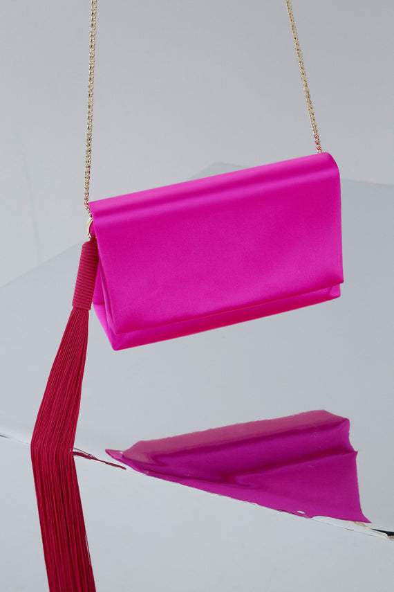 Satin Tassel Bag - Fuchsia