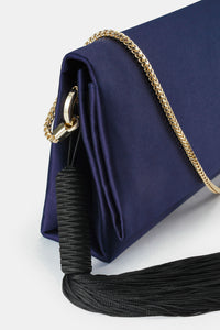 Satin Tassel Bag - Midnight