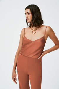 Satin V-Neck Camisole - Cinnamon