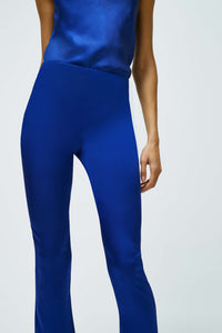 Satin Slashed Trouser - Cobalt
