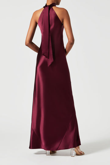 Satin Sienna Dress - Berry