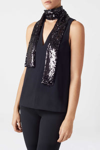 Sequin Cortado Top - Black