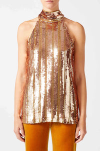 Stardust Sash Neck Top - Rose Gold