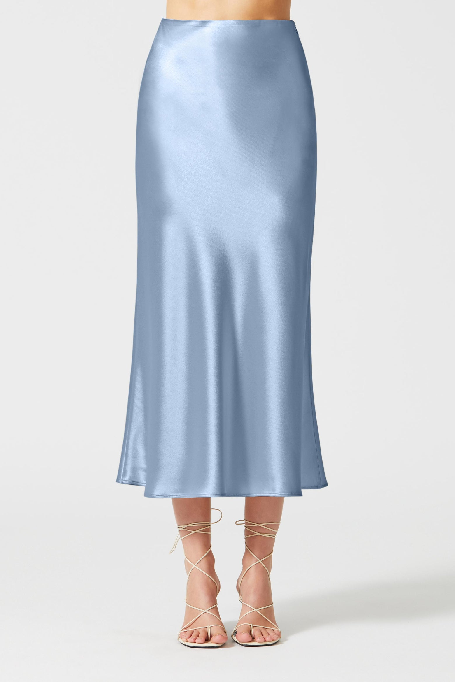 Satin Valletta Skirt - Silver Blue