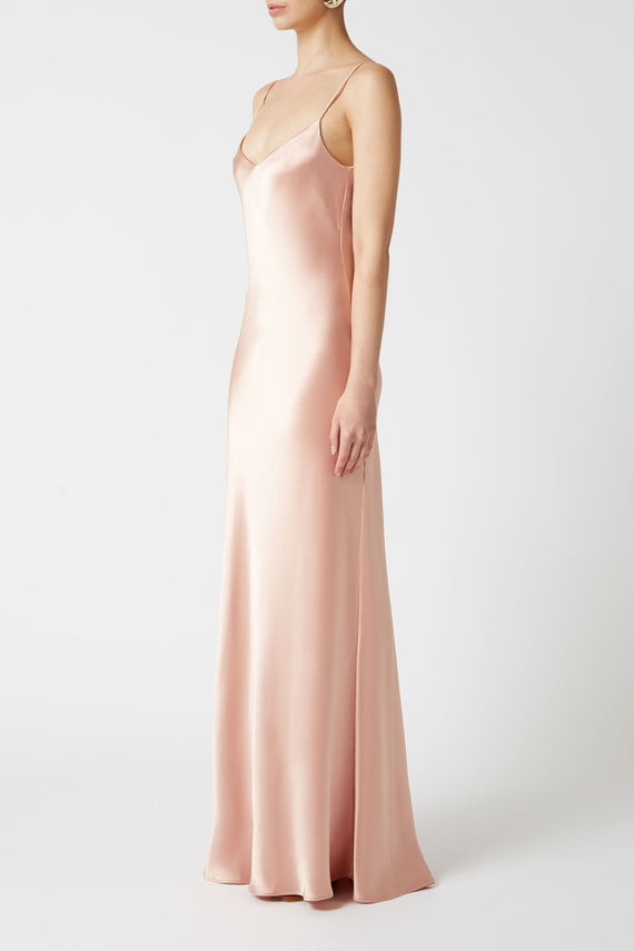 V-Neck Slip Dress - Peach