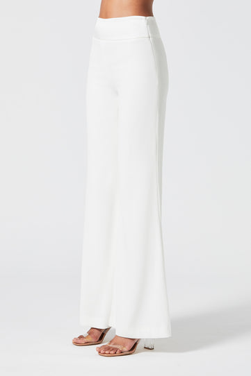 Wide Leg Crepe Trousers - White