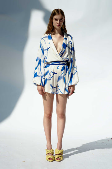 Cabana Playsuit - White & Yves Klein Blue