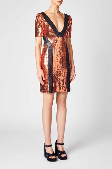 Hero Mini Dress - Bronze & Midnight