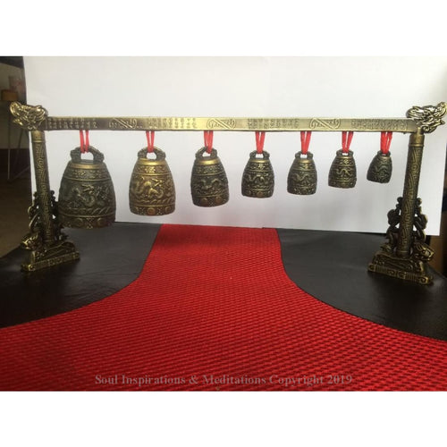Meditation Gong with 7 Ornate Bell with Dragon Design Chinese Musical Instrument metal handicraft