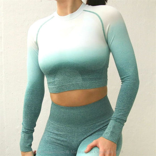 Yoga Nepoagym Women Ombre Cropped Seamless Long Sleeve - womans yoga top