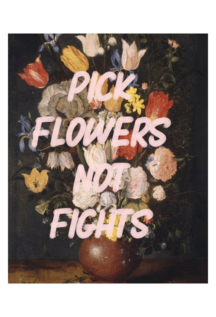 Pick Flowers (Vintage Painting) - Typography Print
