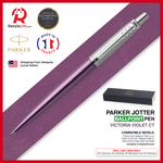 Parker Jotter Ballpoint Pen - Victoria Violet Chrome Trim (with Black - Medium (M) Refill)