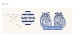 Organic NAVY Striped Mittens