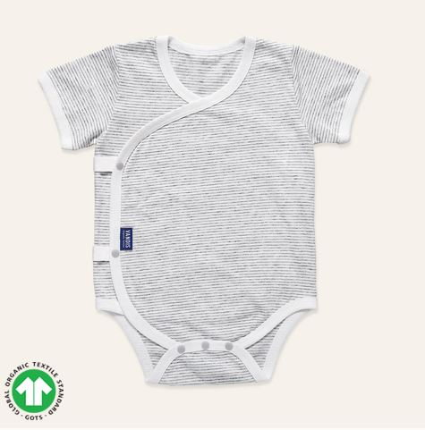 Organic Grey Striped Short Sleeve Bodysuit