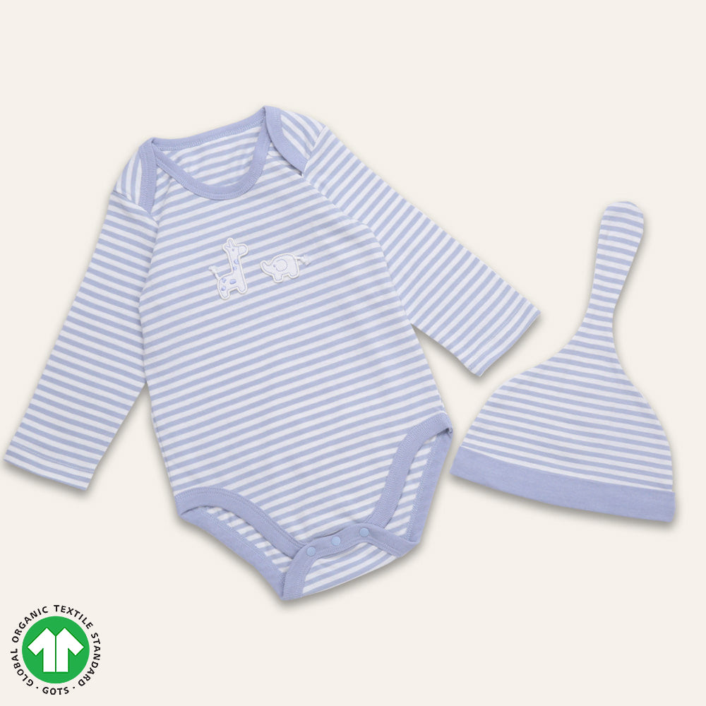 Organic BONI Blue Bodysuit& Hat Set
