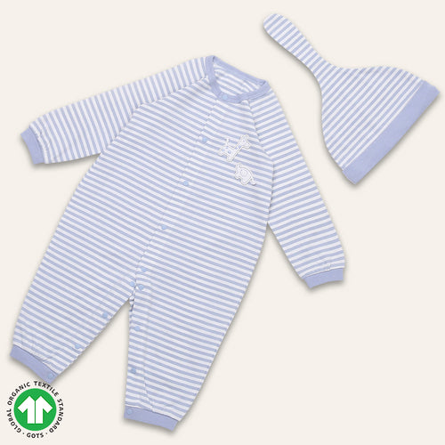 Organic BONI Blue Jumpsuit & Hat Set