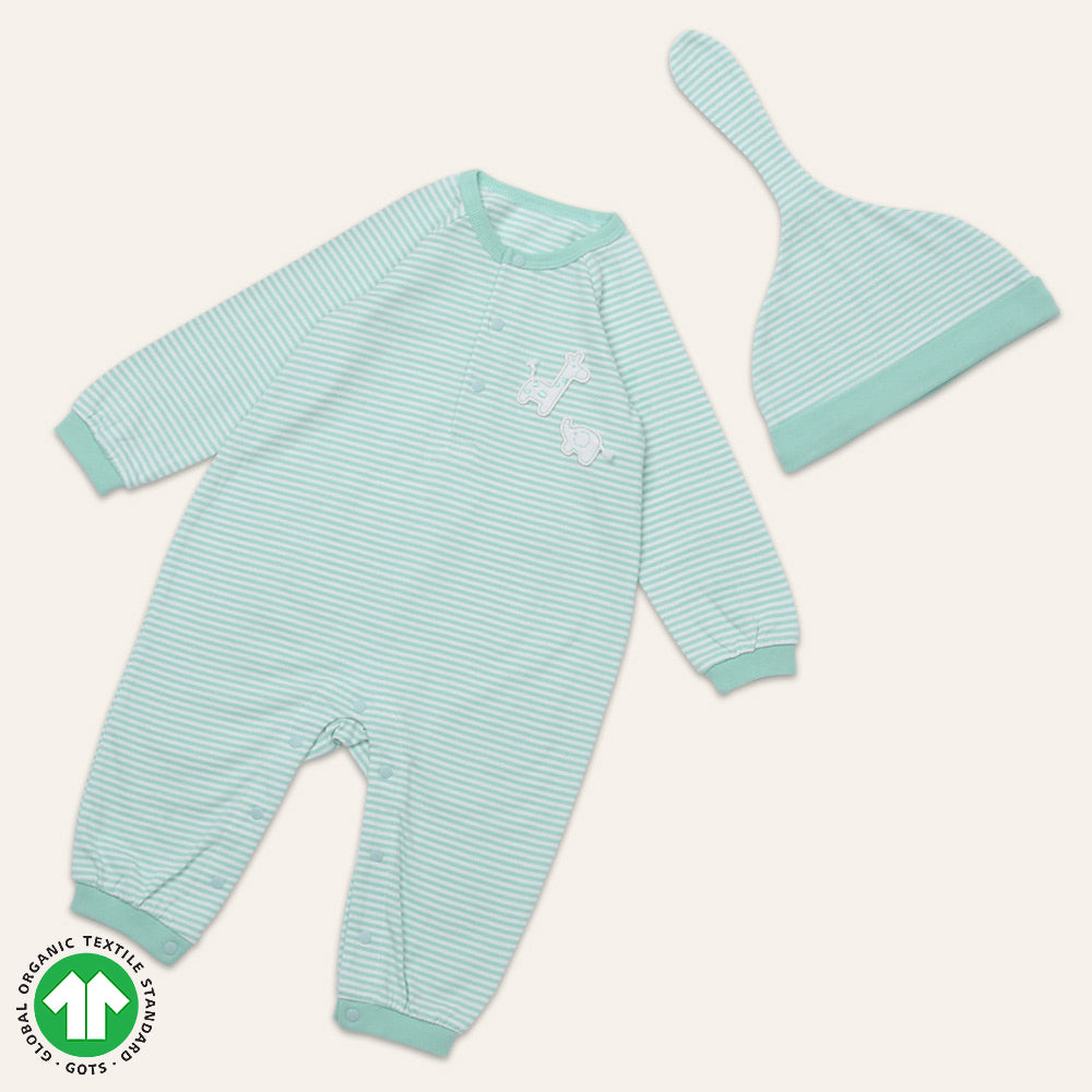 Organic BONI Mint Jumpsuit & Hat Set