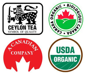 Ceylon tea trademark, Canada Organic seal, A Canadian company seal, USDA trademark seal