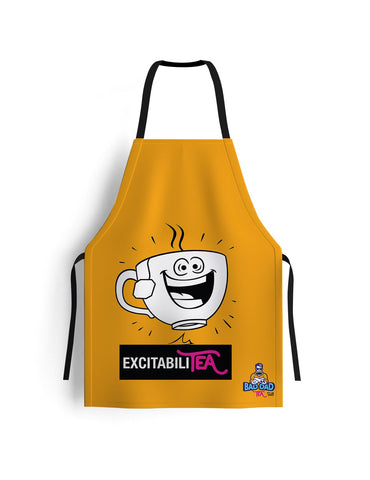 100% cotton unisex kitchen apron. Yellow. Perfectly sized to fit anybody (70cm x 80cm)! Witty cartoon: excitability