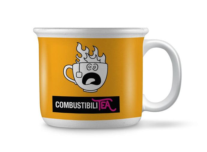 Large ceramic mug, size 444ml/15oz. Wide design and slightly protruding rim. Large D-shaped handle. White and yellow with witty tea pun image: combustibility