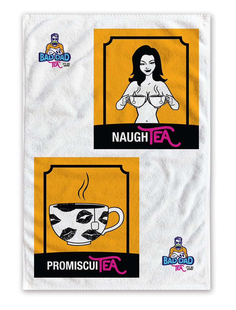 100% white cotton tea towel with witty cartoons: naughty and promiscuity. Perfectly sized to fit any kitchen (40cm x 60cm)!