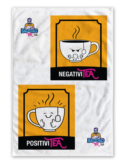 100% white cotton tea towel with witty cartoons: negativity and positivity. Perfectly sized to fit any kitchen (40cm x 60cm)!