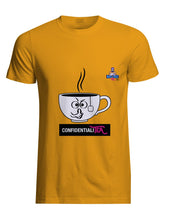 Load image into Gallery viewer, Yellow cotton unisex t-shirt with rib knit collar and tapered neck and shoulders. with witty cartoon: confidentiality