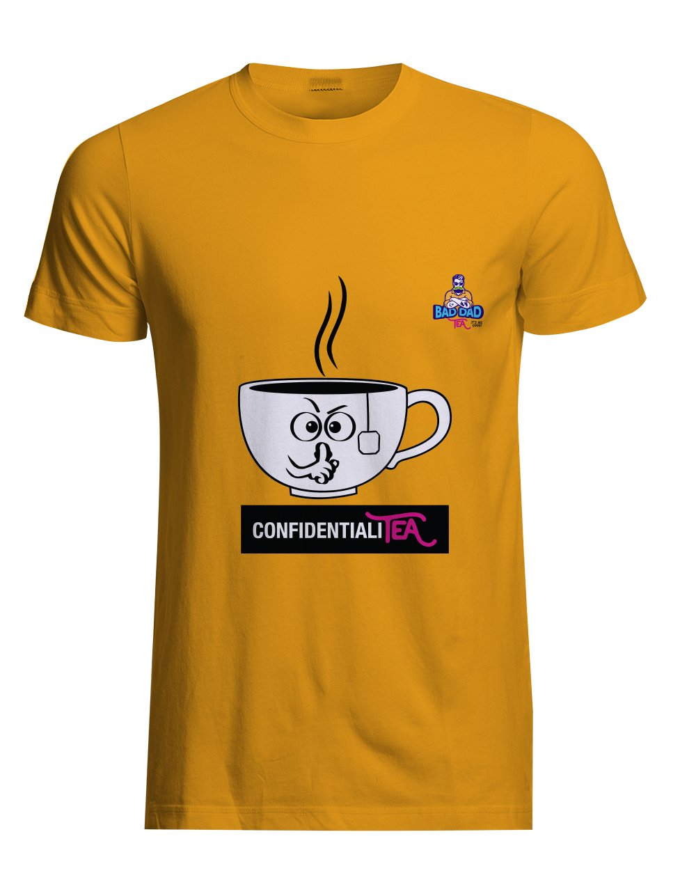 Yellow cotton unisex t-shirt with rib knit collar and tapered neck and shoulders. with witty cartoon: confidentiality
