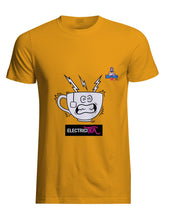 Load image into Gallery viewer, Yellow cotton unisex t-shirt with rib knit collar and tapered neck and shoulders. with witty cartoon: electicity