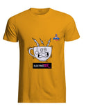 Yellow cotton unisex t-shirt with rib knit collar and tapered neck and shoulders. with witty cartoon: electicity