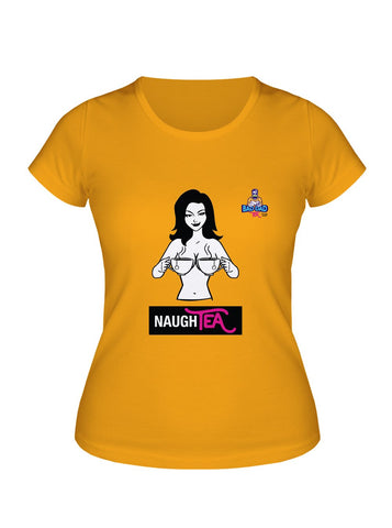 Yellow cotton unisex t-shirt with rib knit collar and tapered neck and shoulders. with witty cartoon: naughty