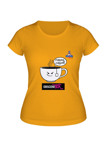 Yellow cotton unisex t-shirt with rib knit collar and tapered neck and shoulders. With witty cartoon: obscenity