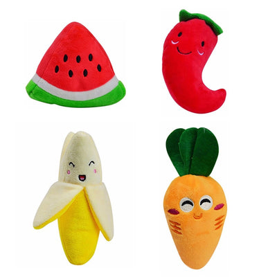 Plush Dog Toys Fruits & Vegetables Design With Integrated Squeaker 4 Pieces - Pets.al