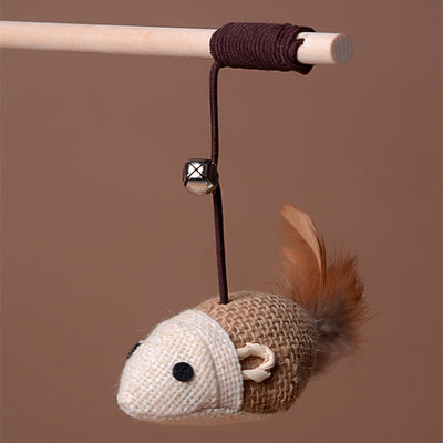 Elastic Cat Waggler With Feather In Mouse Shape